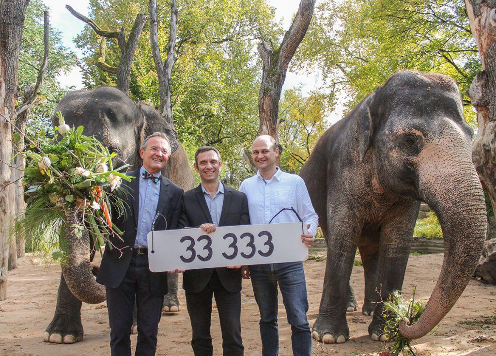 Tobias Bischof (rechts) als 33.333. Mitglied des Vereins der Freunde und Förderer der Wilhelma in Stuttgart begrüßten der Vereinsvorsitzende Prof. Georg Fundel (links) und Wilhelma-Direktor Thomas Kölpin bei den Elefantenkühen Zella (links) und Pama (rechts).
